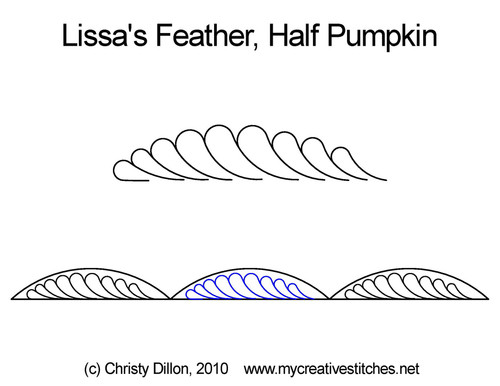 Lissa's feather half pumpkin quilting