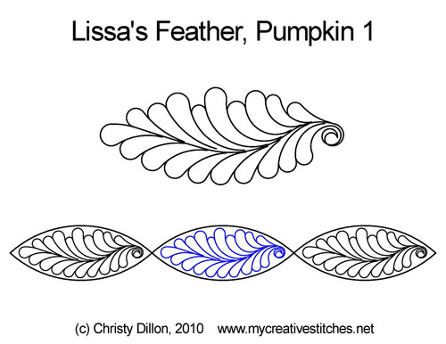 Lissa's feather full pumpkin 1 quilt design