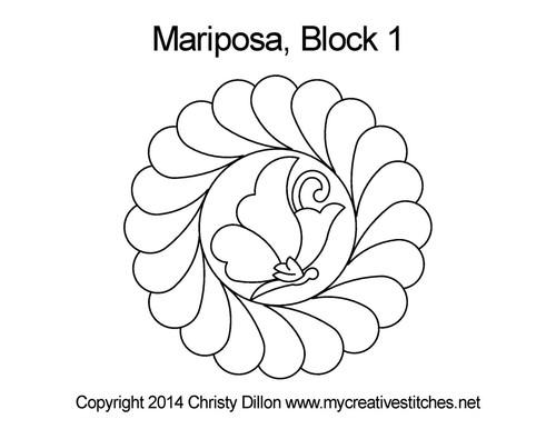 Mariposa quilting design for blocks 1
