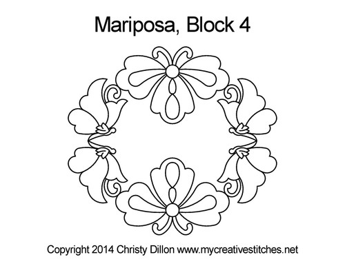 Mariposa quilting patterns for block 4