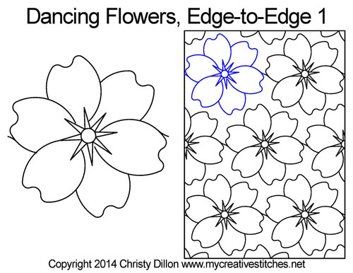 Dancing flowers edge to edge quilting