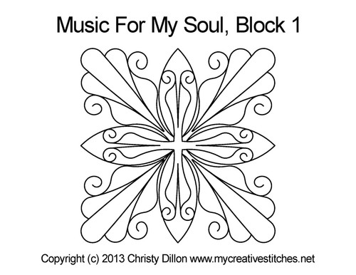 Music for my soul quilting designs for block 1