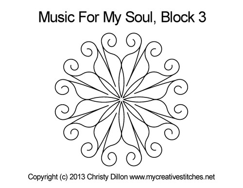 Music for my soul quilting design for block 3