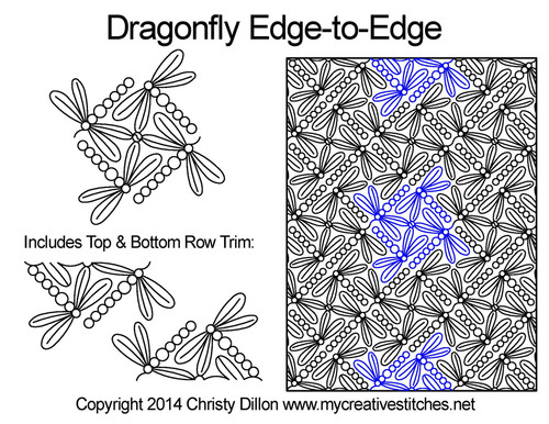 Dragonfly edge to edge quilt patterns