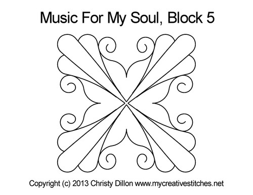 Music for my soul quilt design for square block 5