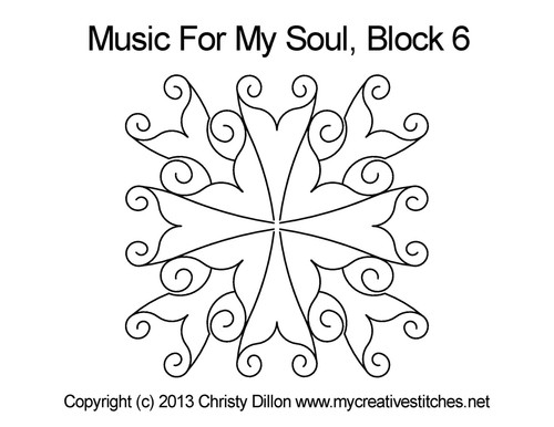 Music for my soul quilting design for block 6