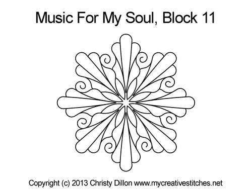 Music for my soul quilting design for block 11