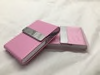 Light Pink Stainless Steel PU Leather Cigarette/Credit Card Case