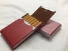 Red Stainless Steel PU Leather Cigarette/Credit Card Case