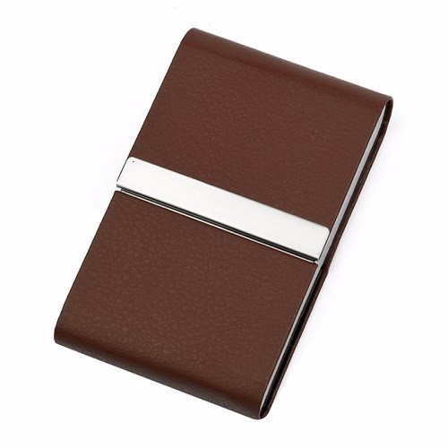 Cigarette Case - BROWN Aluminum / Stainless steel & faux leather (8107)
