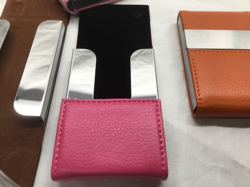 Dark Pink Stainless Steel PU Leather Cigarette/Credit Card Case