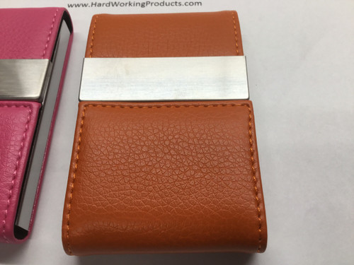Cigarette/Credit Card Case - ORANGE Stainless Steel PU Leather (8119)