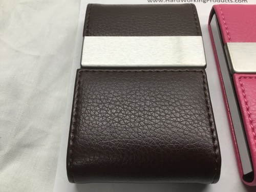 Cigarette/Credit Card Case - BROWN Stainless Steel PU Leather (8122)