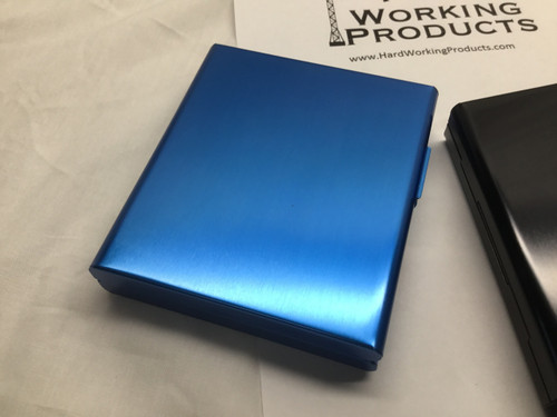 Blue Aluminum Alloy Tri-Fold  Cigarette Case
