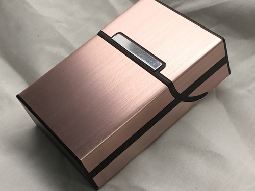 Copper  Plastic / Brushed Aluminum Flip Top Box Cigarette Case