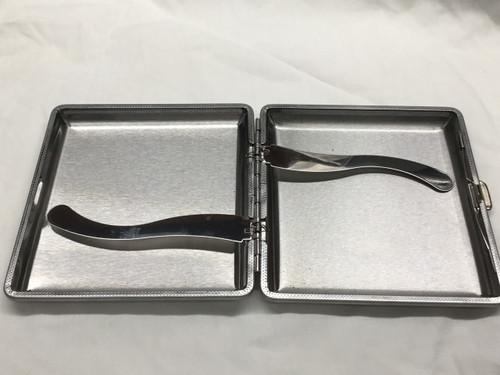 Cigarette/Credit Card Case - BLACK - Metal/Faux Leather