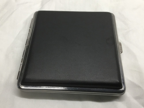Cigarette/Credit Card Case - BLACK - Metal/Faux Leather