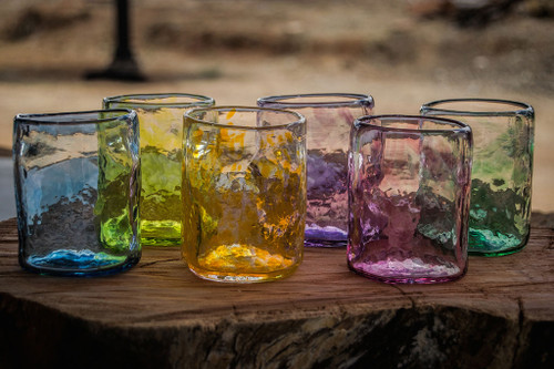 Handcrafted drinking glasses made from recycled glass