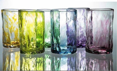 Beautiful hand blown drinking glasses made from recycled glass