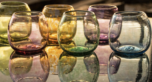 Beautiful handblown drinking glasses made from recycled glass