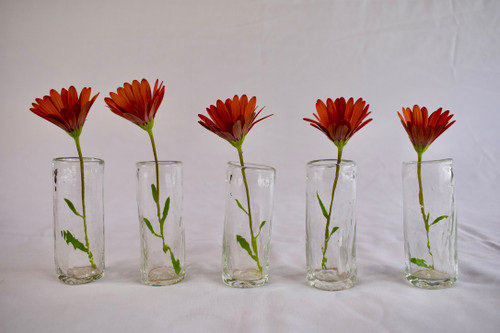 Tall thin handcrafted clear shot glasses / small flower vases made from recycled glass