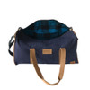 Travel - Weekender Duffle Bag | Navy Blue Canvas - Leather | Large