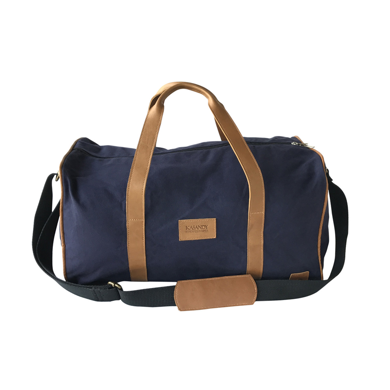 925264b8c114 Travel - Weekender Duffle Bag | Navy Blue Canvas - Leather | Large