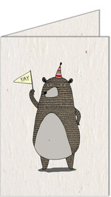 Celebrating Bear | Recycled Paper Plantable Greeting Card | Handmade in South Africa