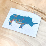 Rhino | Recycled Paper Plantable Greeting Card | Handmade in South Africa