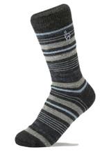 Alpaca Socks - Stripe - Azul (M)   Handmade in Peru