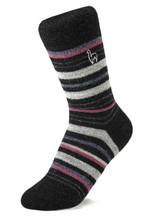 Alpaca Socks - Stripe - Mauve (L)   Handmade in Peru