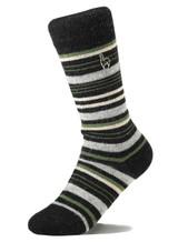 Alpaca Socks - Stripe - Moss (L)   Handmade in Peru