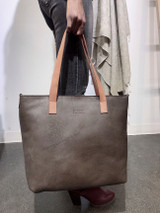 Genuine Leather Tote Bag | Dark Brown + Tan Straps | Handmade in Kenya