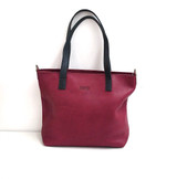 Genuine Leather Tote Bag | Burgundy + Black Straps | Handmade in Kenya