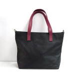 Genuine Leather Tote Bag | Black + Burgundy Straps | Handmade in Kenya