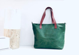Genuine Leather Tote Bag | Dark Green + Tan Straps | Handmade in Kenya