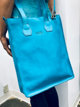 Genuine Leather Satchel/Laptop Bag/Briefcase for Women   Turquoise   Handmade in Kenya