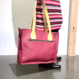Genuine Leather Tote/Laptop Bag/Briefcase for Women | Plum + Yellow Straps | Handmade in Kenya