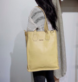 Genuine Leather Tote/Laptop Bag/Briefcase for Women | Yellow & Black | Handmade in Kenya