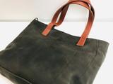Genuine Leather Tote Bag | Grey + Rust Straps | Handmade in Kenya