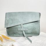 Genuine Leather Satchel/Messenger Bag - Small | Teal Grey | Unisex | Handmade in Kenya