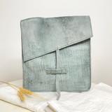 Genuine Leather Satchel/Messenger Bag   Teal Grey   Unisex   Handmade in Kenya