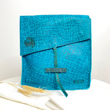 Genuine Leather Satchel/Messenger Bag | Turquoise - Textured | Unisex | Handmade in Kenya