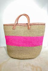 Kiondo Basket | Natural & Pink Stripes | Large - Shopper, Storage, Decor
