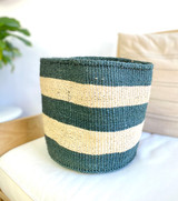 Kiondo Basket - Green & White Stripes | 14"