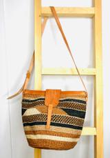 "Kiondo Purse | Brown Geometric | 12"" | Thin Strap"
