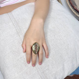 Hand-Hammered Ring | Shell | Gold Brass | Hand Hammered in Kenya