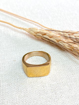 Hand-Hammered Men's Ring | Thick Square Signet Ring | Gold Brass | Hand Hammered in Kenya
