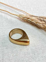 Hand-Hammered Men's Ring | Triangle Signet Ring | Gold Brass | Hand Hammered in Kenya