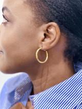 Hand-Hammered Earrings | Hoop - Rough | Gold Brass | Hand Hammered in Kenya